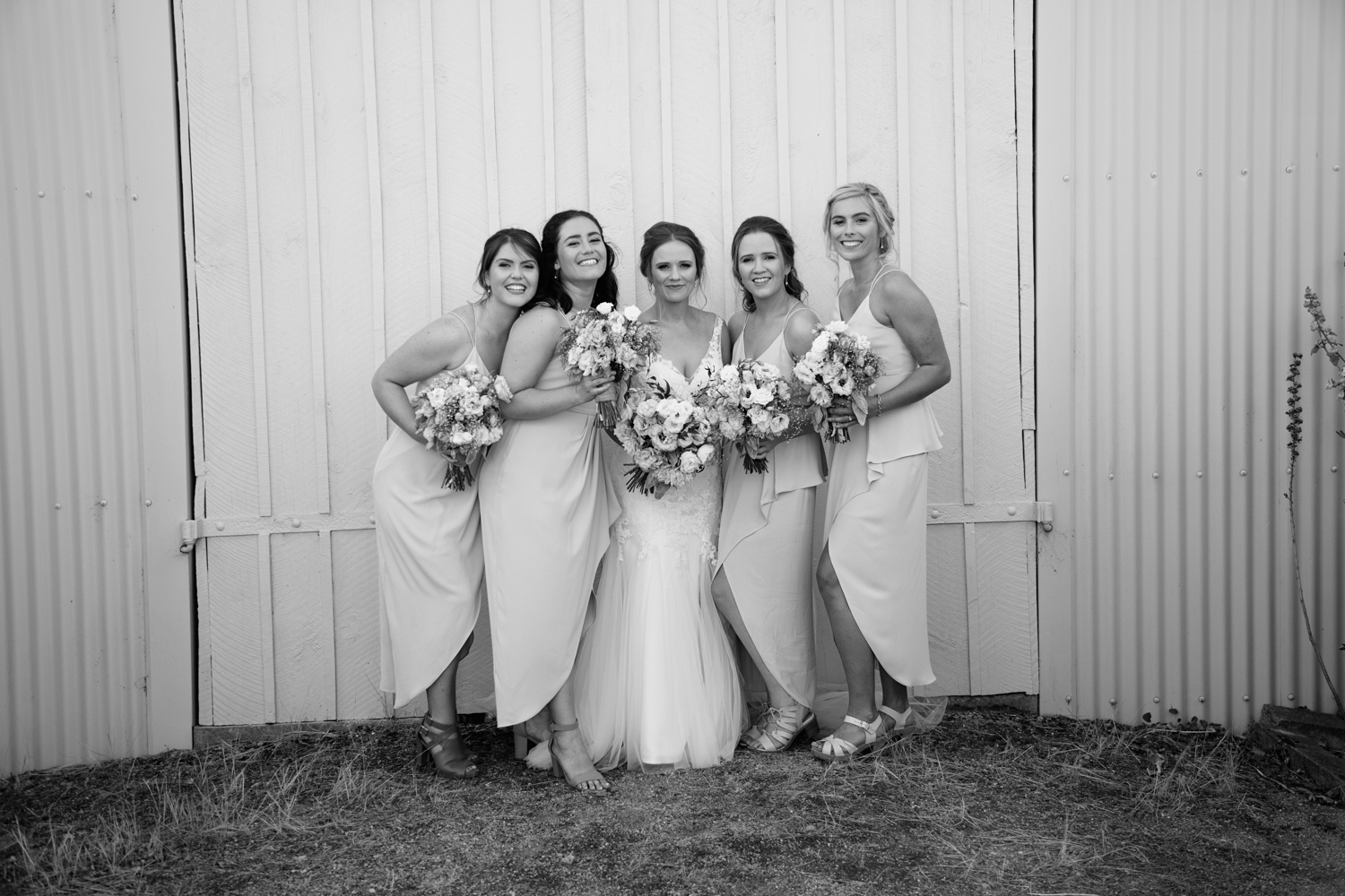 bride and bridesmaids at central otago wedding